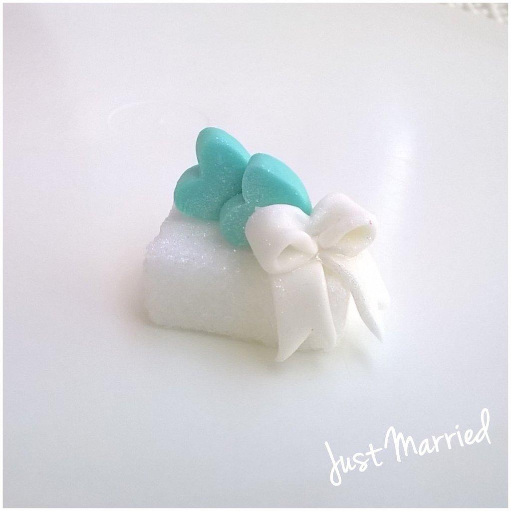 zolletta con cuori e fiocco, segnaposto matrimonio, promessa, Tiffany