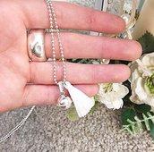 Collana lunga a palline in argento 925 con ciondolo pendente Campanello e nappina