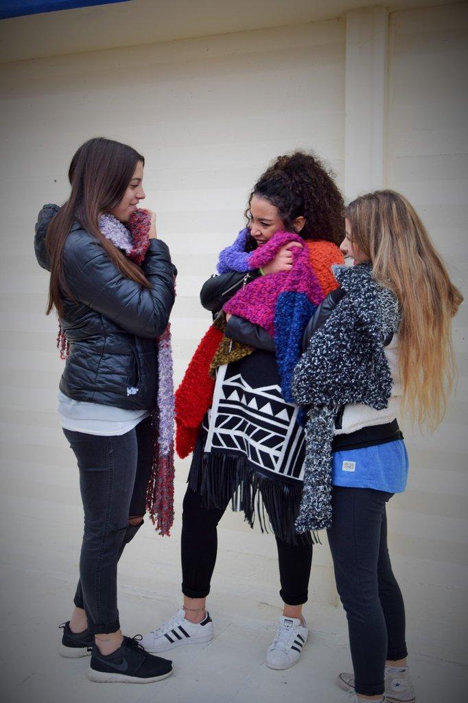 """sciarpa righe colorate lana """"riccia"""""""