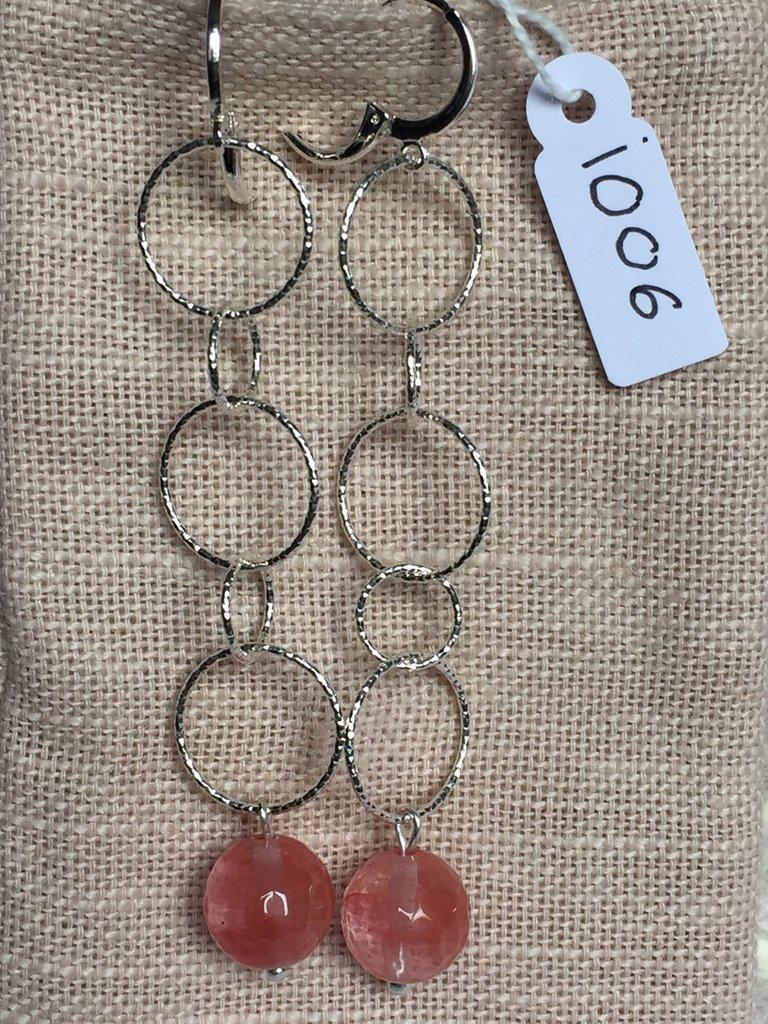 Orecchini con ganci anallergici nichel free, catena in argento 800 e ciondoli in agata.