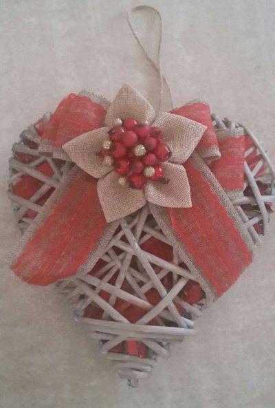 Eccezionale Addobbi natalizi, fiocco e cuore in legno intrecciato, decorato co  TN75