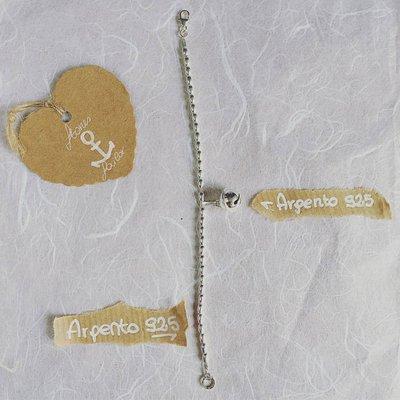 Bracciale con pepite ovaline in argento 925 e ciondolo pendente Campanello