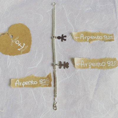 """Bracciale con pepite rondelle in argento 925 e ciondoli pendenti """"Bimbo"""" e """"Bimba"""""""