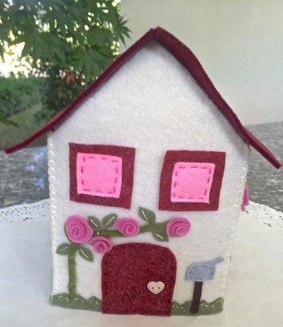 Scatola di feltro porta box per fazzoletti di carta, quadrato, toni sul rosa