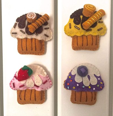 Calamite per frigorifero, cupcake di feltro