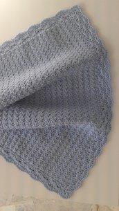 Copertina azzurra per culla o carrozzina in pura lana baby