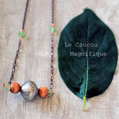 Collana in rame con perle argentate e in cristallo, in stile country chic