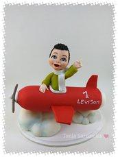 Cake topper bimbo in aeroplano