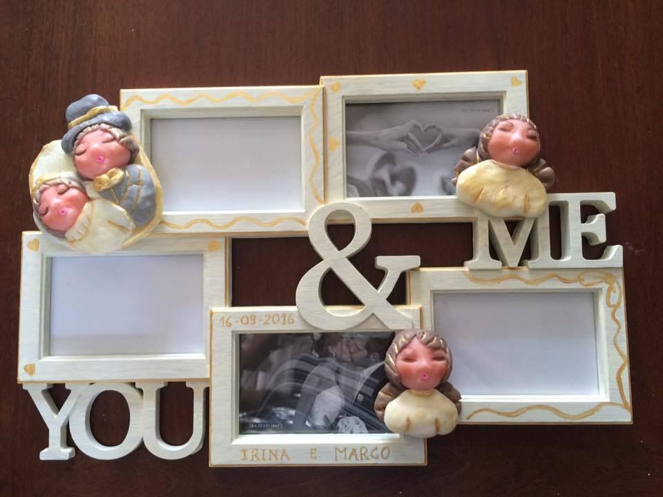 Portafoto multiplo personalizzato sposi da parete con angeli, angioletti