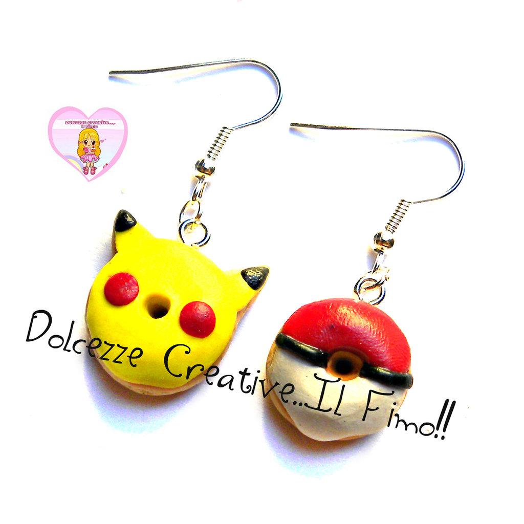 Orecchini Donut Ciambella - pikachu Poké Ball sfera pokemon HANDMADE