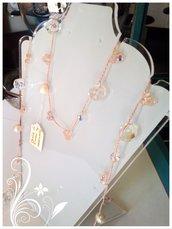 Collana realizzata con perle di fiume e Swarovsky infilati in filo di seta per il segno del Cancro