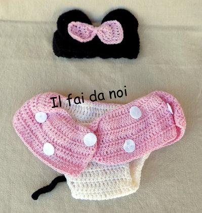 Vestito carnevale Minnie per neonata, outfit baby set foto