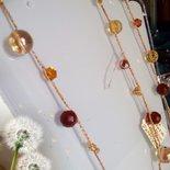 Collana infilata in filo di seta con Agata rossa, Cristallo di rocca e colorati Swarovsky per i segno Ariete e Scorpione