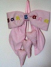 Grande fiocco nascita rosa con cuori in cotone piqué