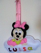 Fiocco nascita con Minnie in pannolenci per bimba idea regalo cameretta