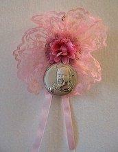 Capoculla sopraculla in pizzo rosa con icona San Padre Pio in puro argento con punzonatura