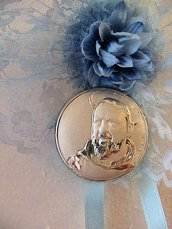 Capoculla sopraculla in pizzo celeste con icona San Padre Pio in puro argento con punzonatura