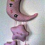 Grande fiocco nascita con luna e stelle rosa in cotone piqué