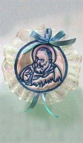 Capoculla sopraculla ricamato con San Padre Pio celeste