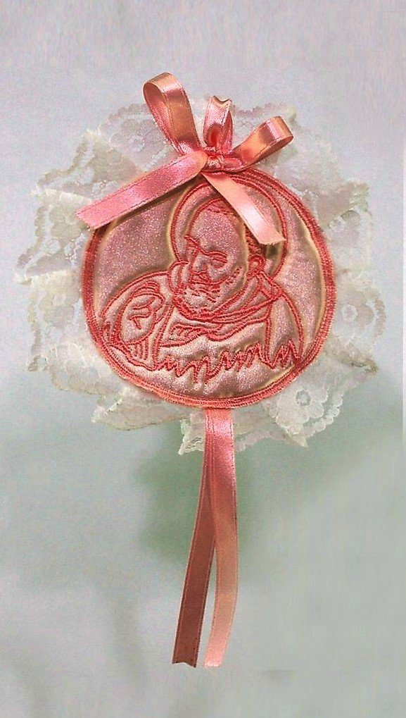 Capoculla sopraculla con ricamo di San Padre Pio rosa