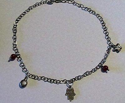 Bracciale/cavigliera con vero corallo rosso sardo in argento 925