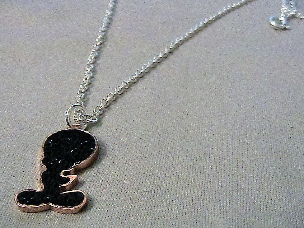 Collana argento con ciondolo Titti in strass neri