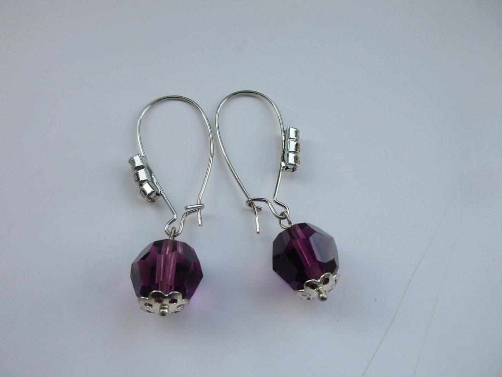 Orecchini perla vetro e cristalli trasparenti, fatti  mano