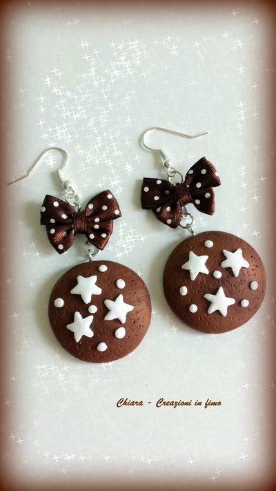 Orecchini in fimo handmade pan di stelle eleganti con fiocchetto idea regalo Natale kawaii regalo epifania calza befana