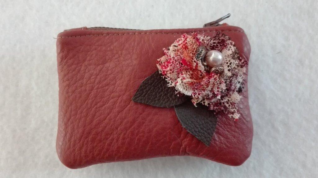 portamonete, porta carte di credito, mini portafoglio in pelle, portamonete in pelle, custodia documenti, rosa antico scuro, rosso mattone