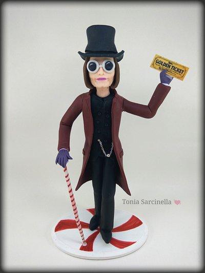 Willy Wonka statua caketopper