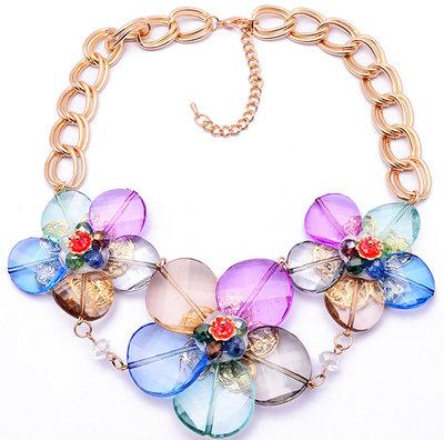 Collana fiori trasparenti arcobaleno