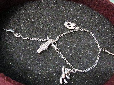 Bracciale/cavigliera con charms in argento tibetano