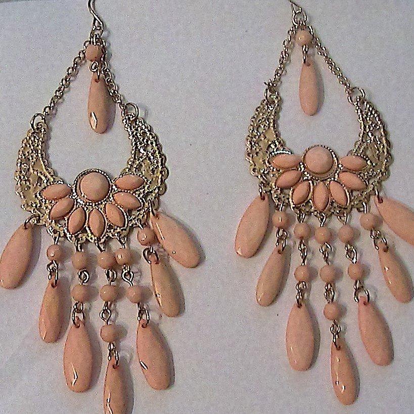 Grandi orecchini chandelier rosa