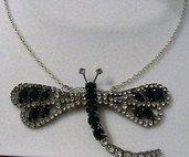 Collana girocollo argento con libellula in strass