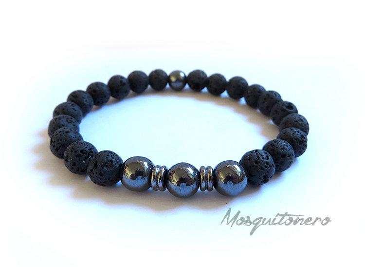 Bracciale da uomo in perle di EMATITE da 8mm nero e pietra lavica nero