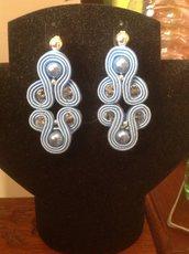 Orecchini Soutache perle e cristalli fatti a mano