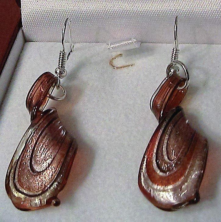 Orecchini in vetro di Murano rosso/nero/oro