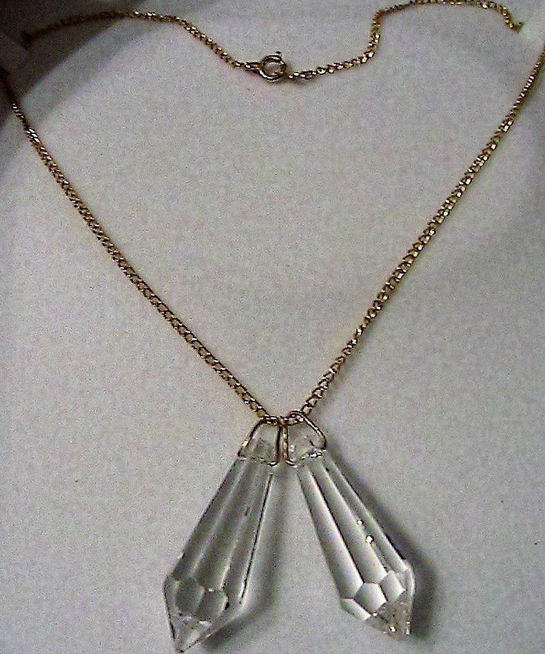 Collana con due gocce di cristallo Swarovski