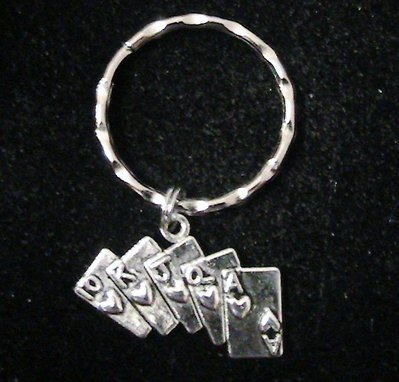 Portachiavi in argento tibetano con charm carte portafortuna