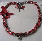 Collana/girocollo in acciaio, raso e strass