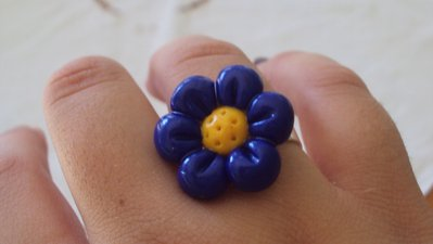 anello fiore di fimo