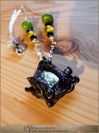 Green organic fairy necklace