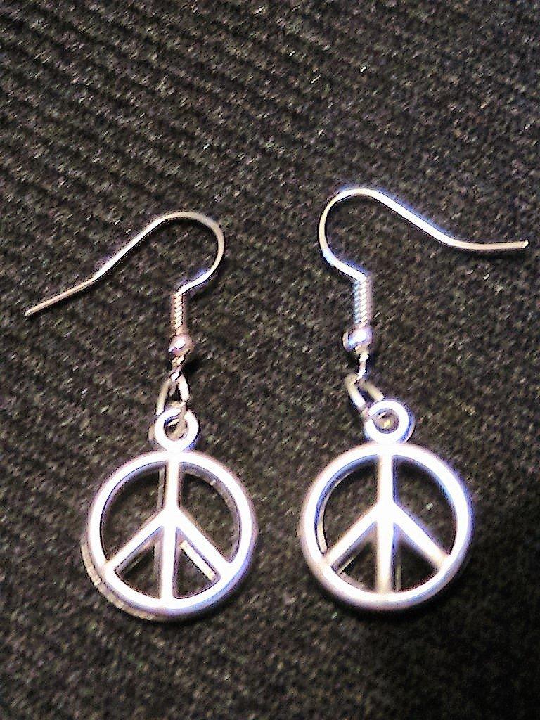 Orecchini pace e amore in argento tibetano