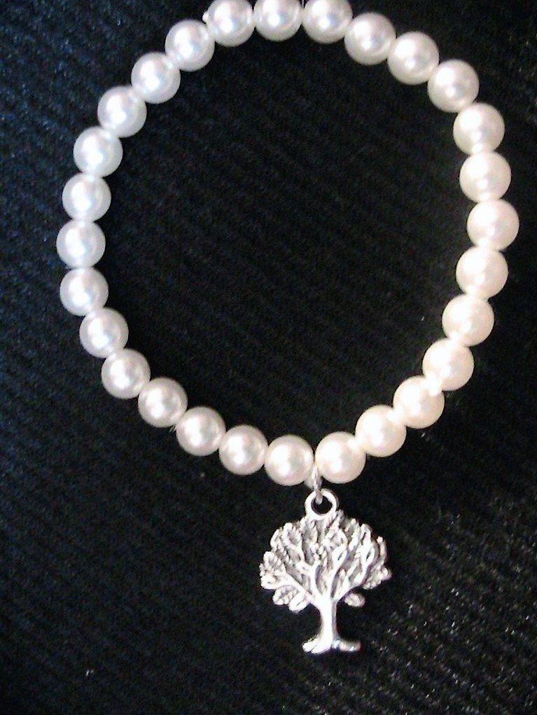 Bracciale con perle e albero della vita in argento tibetano