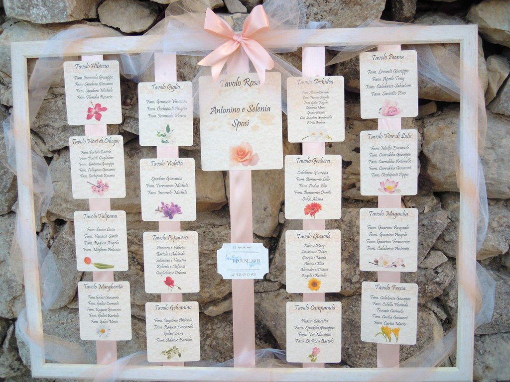 Famoso tableau de mariage sposi personalizzato tema fiori - Feste  OO57