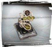 Anello in Argento 925 con Peridoti e Quarzi Fumé