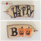 """Biglietto auguri Halloween """"Happi Boo"""" con zucche"""