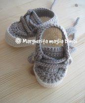 Scarpine sneakers bimbo colore grigio - lana e alpaca - uncinetto - crochet