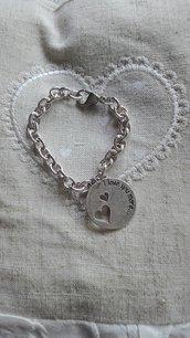 Bracciale catena in alluminio con ciondolo rotondo
