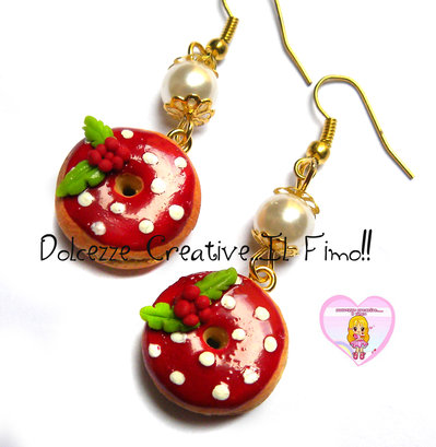 ☃ Natale In Dolcezze 2016 ☃ Orecchini Donut - Ciambelle con glassa rossa e pois - vischio